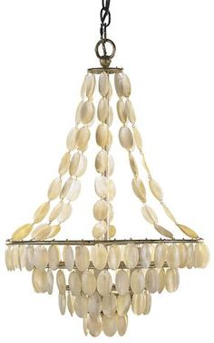 A touch of the sea, a taste of romance... vintage style shell chandelier