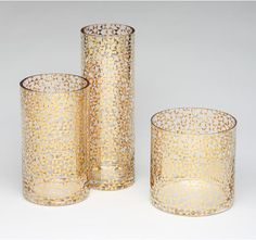 """Think I can do this - hot tip from comments: """" If you lightly spray water into glass (just a tiny bit!) and then spray paint gold inside, you'll get the mercury glass flecky look. :) The water makes the nifty pattern!"""""""