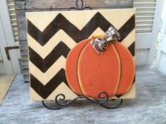 Fall Pumpkin Wood Decor Sign with Chevron Stripes by SouthernSupply, $25.00