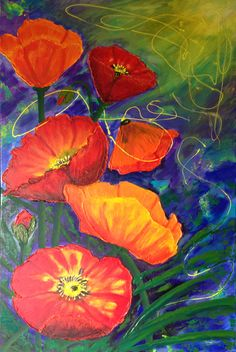 Poppy painting by Wendy Sinclair, completed at a workshop run by Jenni Kelly 19.6.13