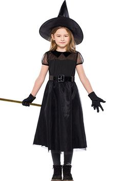 HandZY Girls Halloween Black Witch Costume Little Witch Dress Cape Kids Cosplay Dresses ** Continue to the item at the photo link. (This is an affiliate link). Cute Costumes For Kids, Kids Witch Costume, Costumes For Teens, Children Costumes, Toddler Girl Halloween, Toddler Halloween Costumes, Halloween Cosplay, Halloween Ball, High Quality Halloween Costumes