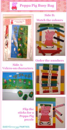 Peppa Pig puzzle busy bag! Contains a double sided picture board with double-sided popsicle sticks for multiple activity options. Find how-to instructions on the blog: http://easybreezyparties.com.au/party-inspiration-and-ideas/item/50-peppa-pig-puzzle-busy-bag-how-to.html . #busybag #peppapig #easybreezyparties