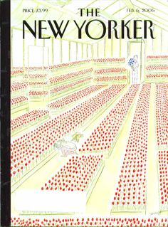 New Yorker cover Jean-Jacques Sempe picking one red tulip in greenhouse 2/6 2006