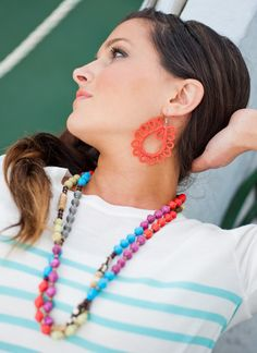 love the festival necklace paired with crocheted neon earrings.  tis the season for neon!  #noondaystyle