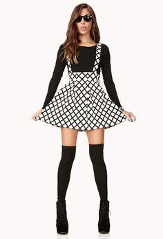 Grid Print Overall Skirt | FOREVER21 - 2000111713