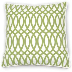 Villa Home Green Fields Geo Pillow in Green Cotton