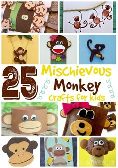 25 Mischievous Monkey Crafts For Kids - Play Ideas Summer Crafts For Toddlers, Animal Crafts For Kids, Toddler Crafts, Animals For Kids, Diy Crafts For Kids, Fun Crafts, Art For Kids, Zoo Animals, Monkey Art Projects