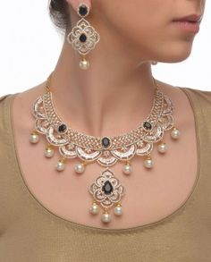 Chandelier Style Necklace Set with Pearls