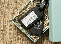 for a destination wedding: Oh So Beautiful Paper: Mary + Kosta's Luggage Tag Save the Dates