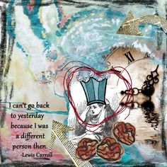 Art Journal page by Stephanie Bullock.  UK Itinerary 3 Quickety Split prompt - 1 arrow up, 1 arrow down, a painted border, and a crown.  Background is an overlay using an illustration by Salvador Dali for Alice in Wonderland. Tangie Baxter January parcel for UK. Crown, clock, and heart string from free downloads, but I unfortunately did not note the artist.