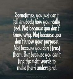 This is truely me..............and how I struggle to find the words to say how I feel or what I mean..............someday I will make it thru this.......