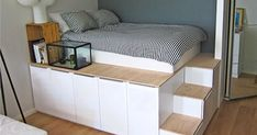 If you build a foundation of cabinets for your bed, you'll get a lot of storage space . - Ikea DIY - The best IKEA hacks all in one place Ikea Hacks, Diy Hacks, Modern Master Bedroom, Cute Bedroom Ideas, Best Ikea, Scandinavian Bedroom, Ikea Bedroom, Small Rooms, Storage Spaces