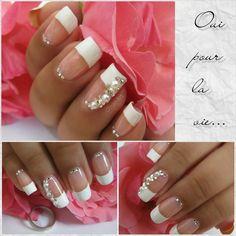 Nail Art de mariage : se dire oui pour la vie! Wedding nail strass and pearl