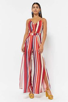Product Name:Stripe Crepe Cami Jumpsuit, Category:dress, Jumpsuit Elegante, Leather Peplum, Jumpsuit Pattern, Rompers Women, Women's Rompers, Casual Elegance, Fashion Outfits, Womens Fashion, Editorial Fashion