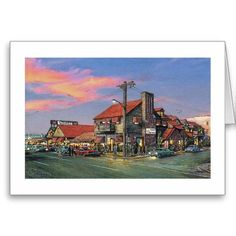 """A nostalgic note card by the award-winning artist Paul McGehee. """"The Crab House - shows a popular eatery in Ocean City, Maryland as it appeared back in the late You can almost taste the crabcakes! Each card comes with envelope. Crab House, Ocean City Md, Maryland, Note Cards, Envelope, Popular, Artist, Painting, Index Cards"""