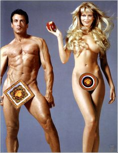 Claudia Schiffer and Sylvester Stallone by Richard Avedon for Versace 1995