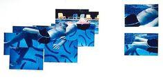 David Hockney, Robert Littman Floating in My Pool, Oct. 1982 photographic collage, 22 x 30 in British Artist, David Hockney Joiners, Photo, Photo Collage, David Hockney, Photomontage, Graphic Design Course, Hockney Inspired, Photo Mosaic