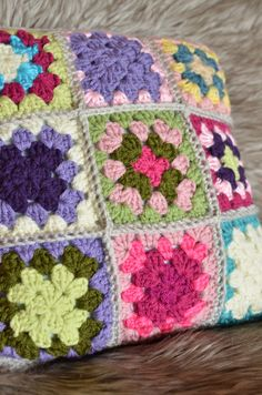 Granny square mini pillow - blue, pink, purple, green, yellow, grey by ThreeLeafDesign on Etsy