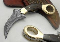 Custom Made Awesome Damascus Steel Karambit by DZKKDAMASCUS, $58.00