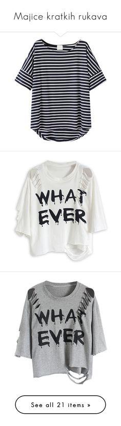 """Majice kratkih rukava"" by ninas-824 ❤ liked on Polyvore featuring tops, t-shirts, shirts, choies, blusas, black, black t shirt, black striped tee, striped t shirt and black short sleeve t shirt"