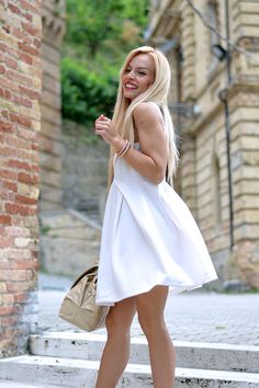 White skater dress, coral pumps and Braccialini bag - outfit summer 2014 italian #fashionblogger It-Girl by Eleonora Petrella #fashion #outfit #ootd #look #outfitoftheday #lookoftheday #instafashion #girl #blondie