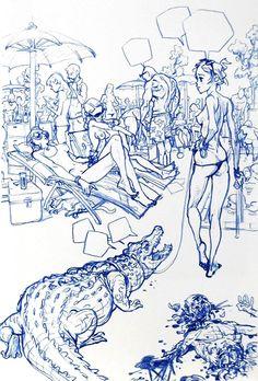 Figure Sketching, Figure Drawing, Drawing Reference, Cartoon Sketches, Drawing Sketches, Art Drawings, Junggi Kim, Kim Jung, Creative Sketches