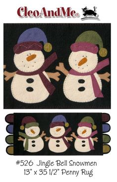 Jinglebell Snowmen Penny Rug Pattern by cleoandmepatterns on Etsy.  I love Cleo and Me - haven't seen their designs in forever!!