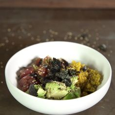 Guy has the perfect recipe to make an amazing power Poke Bowl!