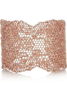 Aurélie Bidermann|Rose gold-dipped lace cuff|NET-A-PORTER.COM