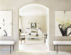 Contemporary White Dining Room Fireplace | LuxeSource | Luxe Magazine - The Luxury Home Redefined