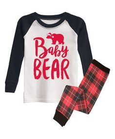 Black & White 'Baby Bear' Pajama Set - Infant, Toddler & Kids #zulily #zulilyfinds