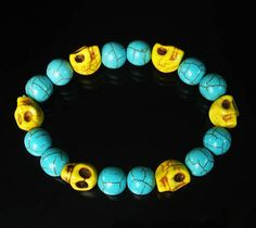 Cool Turquoise Bright Yellow Skulls & Baby Blue Ball Bead Stretch Bracelet 075