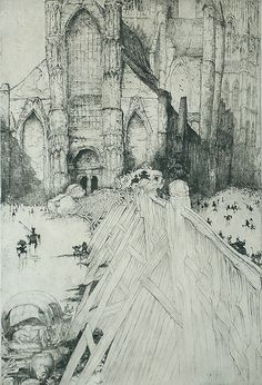 Saint Nicolas church in Ghent - Etching (1928) by Jules De Bruycker (1870-1945), an artist who was born, lived, and worked in Ghent.