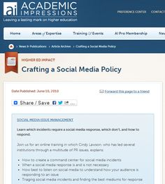 Crafting a Social Media Policy - by Daniel Fusch #HigherEd #HigherEdSocialMedia
