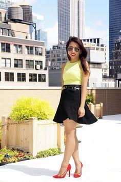 Neon Jacquard & Black Flared Skirt