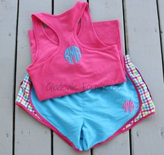 Monogrammed Racer Back Tank with Running Shorts. $45.00, via Etsy.