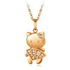 New Arrival 18K Gold Plated Necklace A Cute Cat Zircons Pendant Beautiful Women Jewelry(China