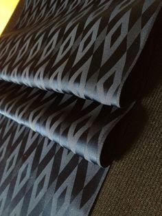 Vintage Japanese Kimono Silk Fabric - Very dark midnight blue - woven diamond pattern. $11.00, via Etsy.
