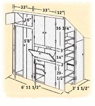 You can build a handy storage closet for the area under a sloped roof.