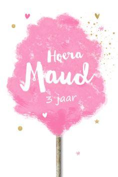 lovz.nl | hippe uitnodiging kinderfeestje met roze suikerspin met houten stokje. Alles is aan te passen en te bewerken!