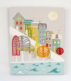 Hill houses  San Francisco America Textiles Canvas por lauraamiss, €65.00