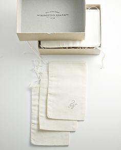 stamped muslin bags