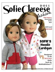 Sofie Clareese Fashion Sofie's Hoodie Cardigan Doll Clothes Pattern WellieWishers Dolls | Pixie Faire