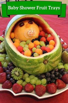 Fruit tray ideas for baby shower. Baby shower decorations & appetizers. Creative baby shower fruit trays. Table decorations for parties.