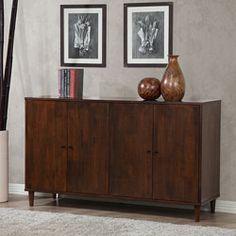 @Overstock - Materials: Rubberwood   Finish: Tobacco   Four (4) adjustable shelves http://www.overstock.com/Home-Garden/Vilas-4-door-Dining-Buffet/6280947/product.html?CID=214117 $421.99