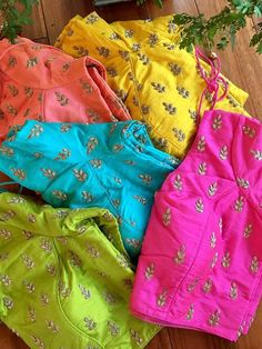 Colour colour which colour you want, seeing so many colors together feeling wow Wedding Saree Blouse Designs, Fancy Blouse Designs, Blouse Desings, House Of Blouse, Maggam Work Designs, Blouse Models, Work Blouse, Blouse Patterns, Saree Collection