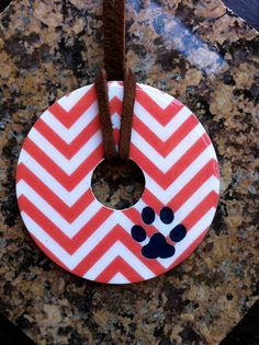 Auburn Tiger Blue Chevron Pendant Necklace by bethanyredmond