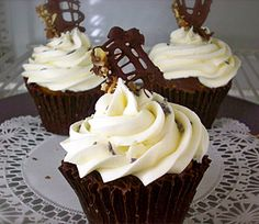 """Chocolate Lavender Cupcakes with a chocolate shell """"liner"""""""