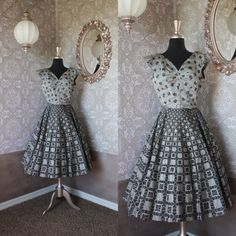 Vintage 1950's Black and Silver Flocked Cocktail Dress by pursuingandie