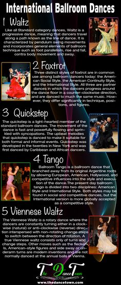 The World Dance Championships have been held annually for Ten Dance. The dances covered in the Ten Dance are the five International Ballroom dances waltz, foxtrot, quickstep, tango and Viennese waltz.  www.thedancetown.com